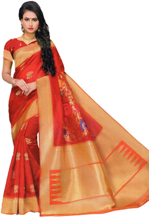 Nayonika Devsena Printed Cotton Silk Saree With Blouse Piece  (Red) By Indians Boutique