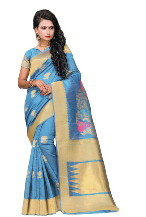 Nayonika Devsena Printed Cotton Silk Saree With Blouse Piece (Blue) By Indians Boutique