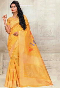 Nayonika Devsena Printed Cotton Silk Saree With Blouse Piece  (Yellow) By Indians Boutique