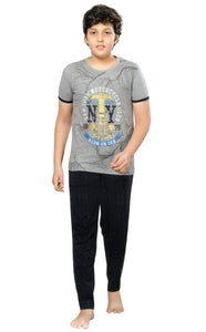 J-Boy Cotton Night Suit  for Boys  (Grey)