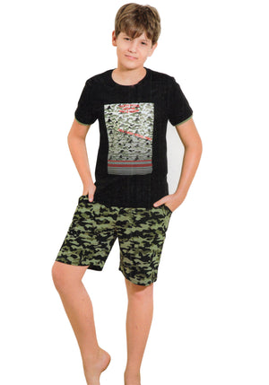 Sweet Night Boy's Cotton Night Suit (Black)