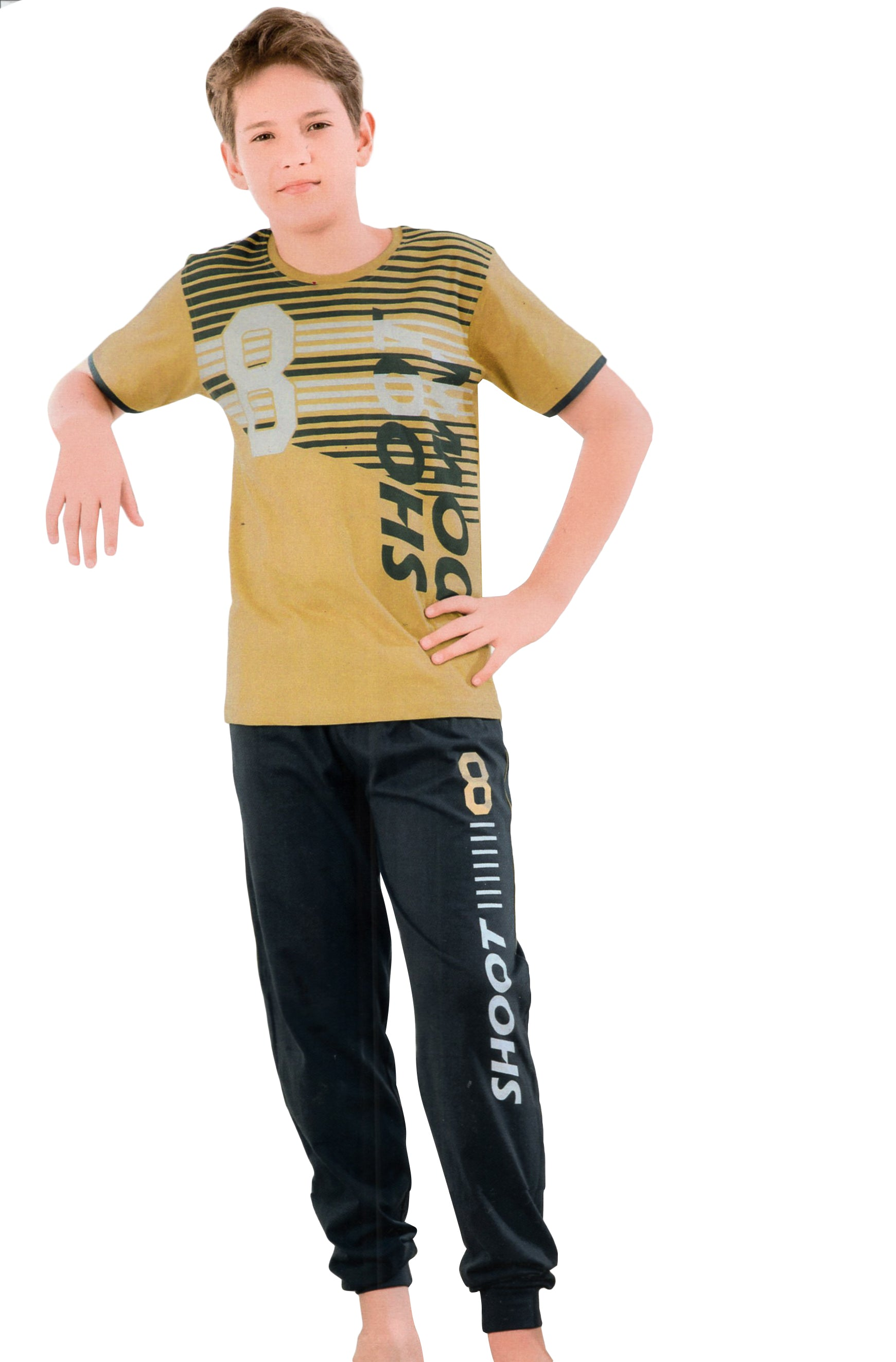 Sweet Night Boy's Cotton Night Suit (Yellow)