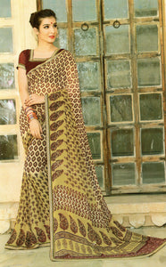 JBP Radha Ka Shyam Printed Synthetic Saree With Blouse Piece (Golden) Indians Boutique