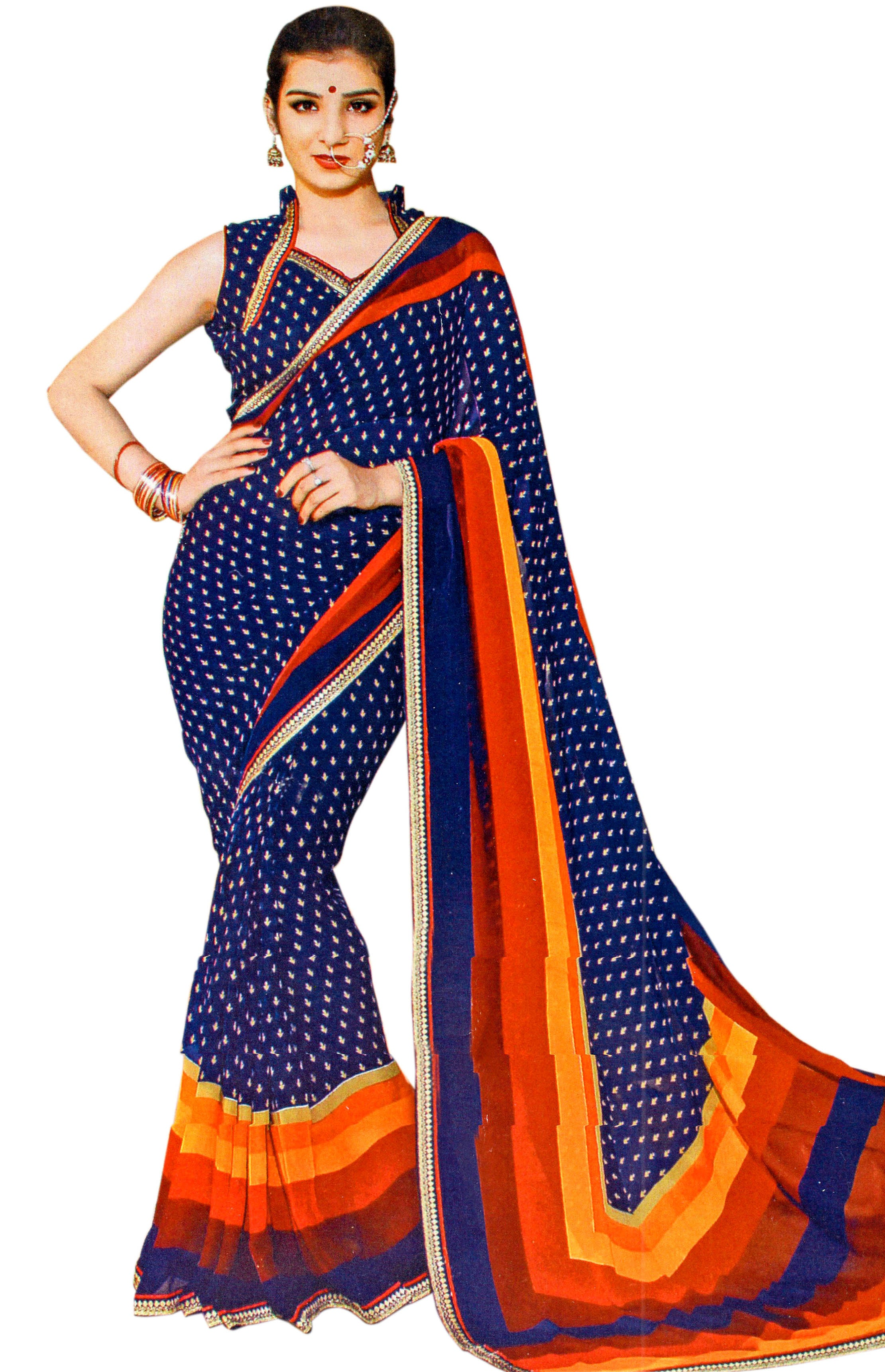 JBP Radha Ka Shyam Printed Synthetic Saree With Blouse Piece (Navy Blue) Indians Boutique