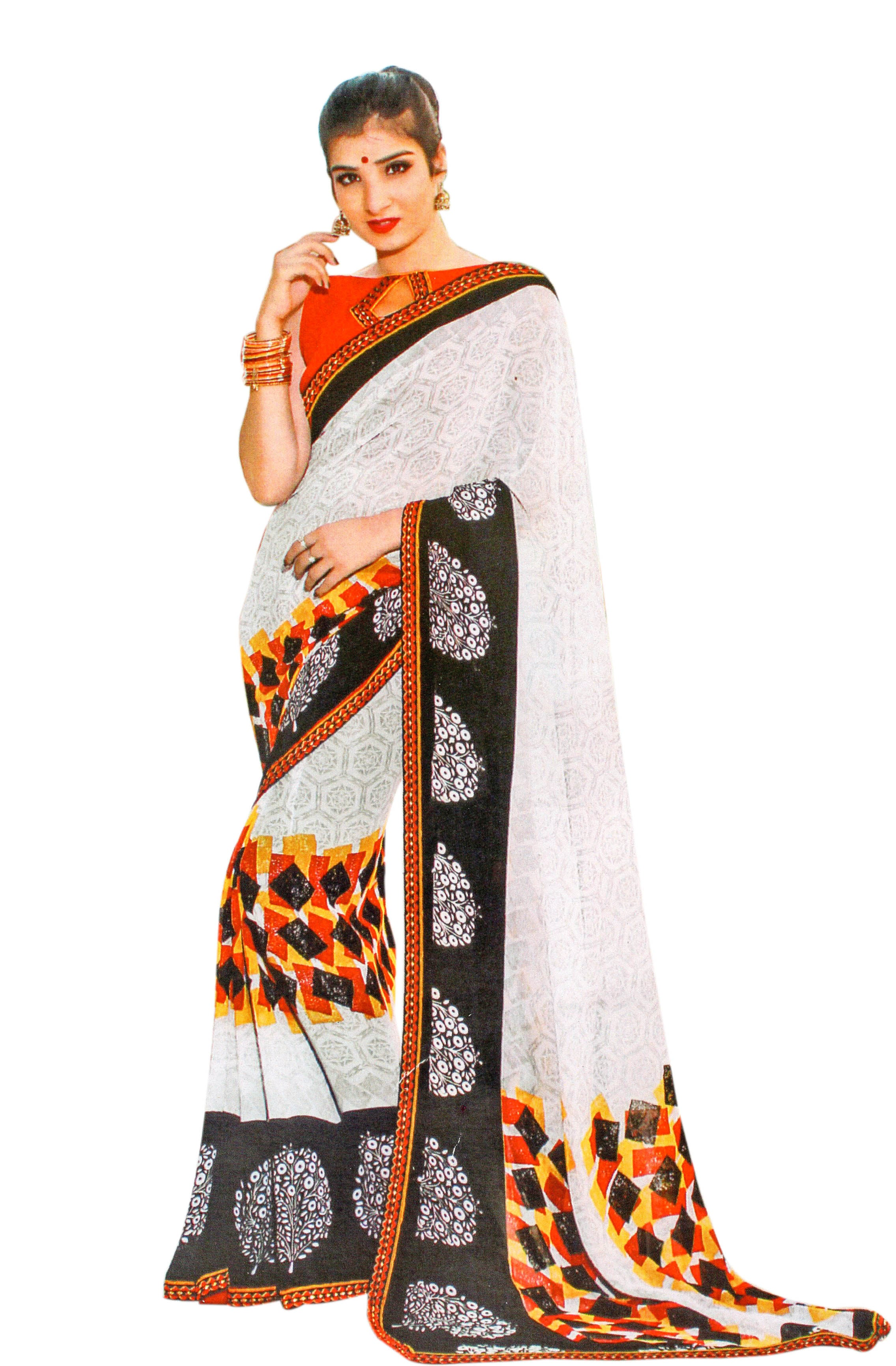 JBP Radha Ka Shyam Printed Synthetic Saree With Blouse Piece (White) Indians Boutique