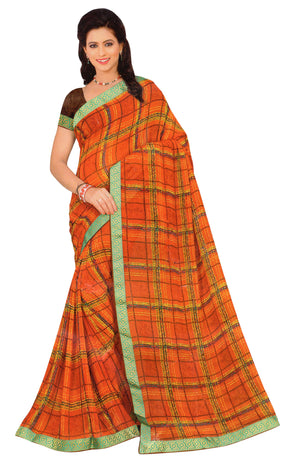 Richa Nx Pukran Printed Georgette Saree With Blouse Piece (Red) By Indians Boutique