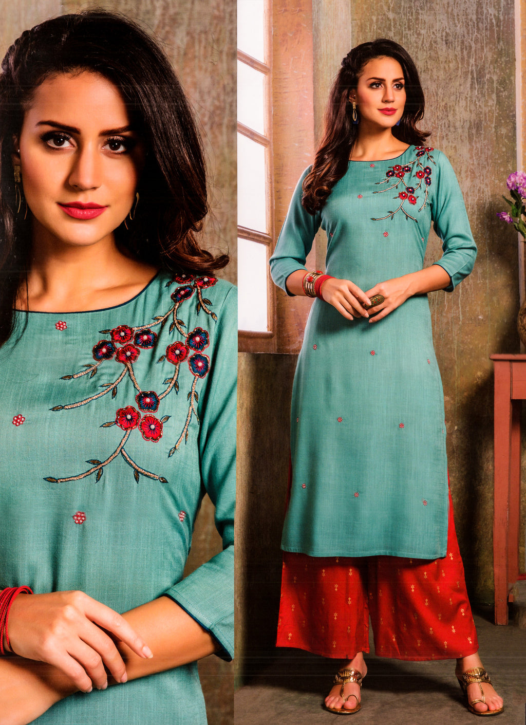 S4U  Womaniya Cotton Kurti and Plazzo Set (Sky Blue) By Indians Boutique