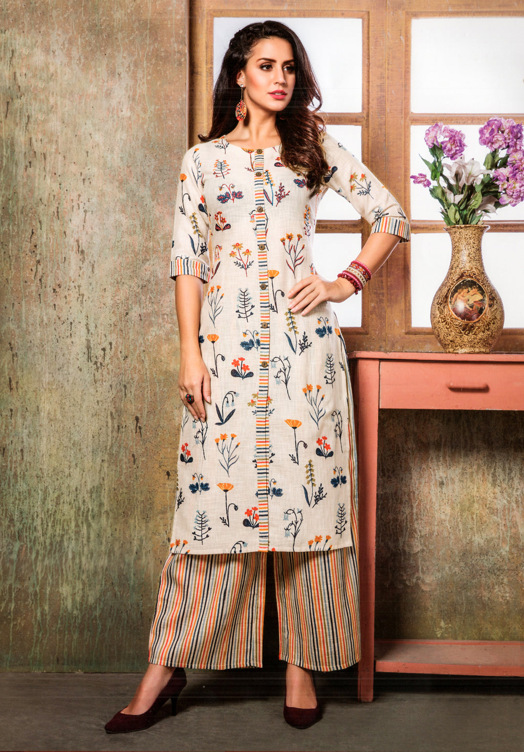 S4U  Womaniya Cotton Kurti and Plazzo Set (Offwhite) By Indians Boutique