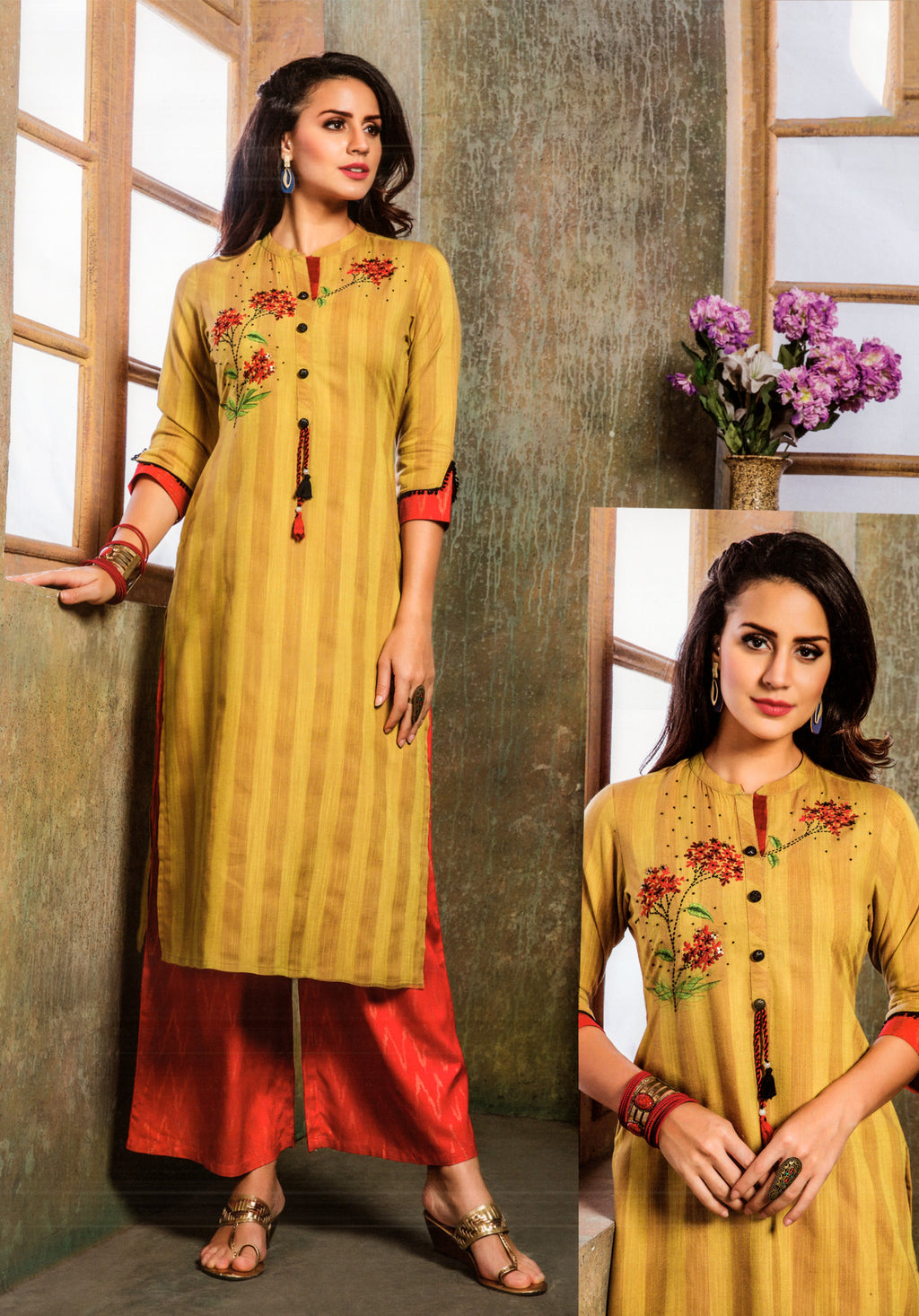 S4U  Womaniya Cotton Kurti and Plazzo Set (Mustard) By Indians Boutique