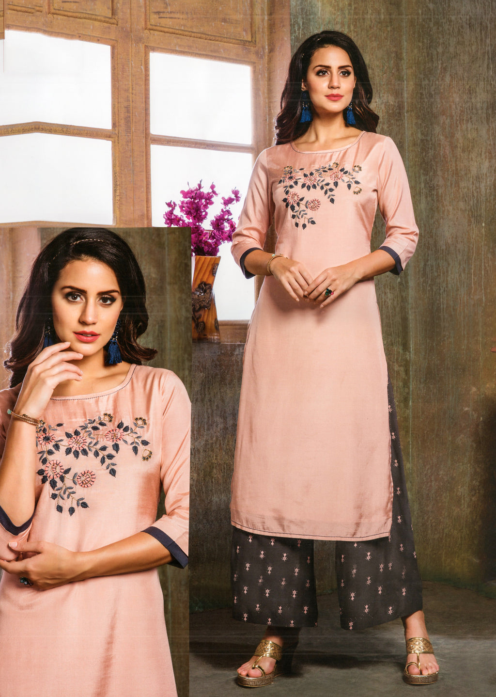 S4U  Womaniya Cotton Kurti and Plazzo Set (Pink) By Indians Boutique