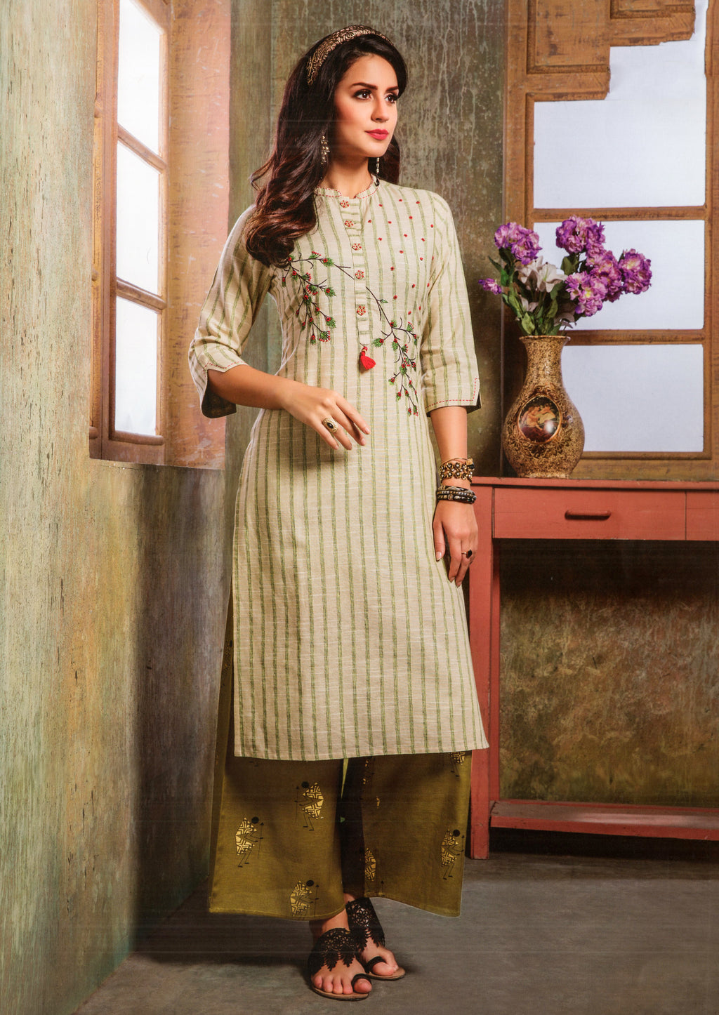S4U  Womaniya Cotton Kurti and Plazzo Set (Beige) By Indians Boutique
