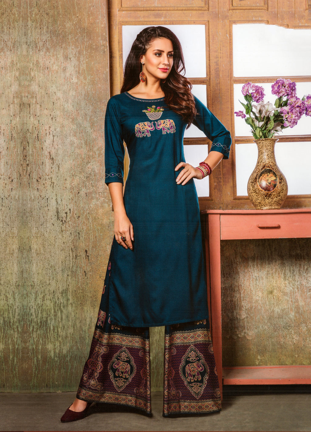 S4U  Womaniya Cotton Kurti and Plazzo Set (Navy Blue) By Indians Boutique