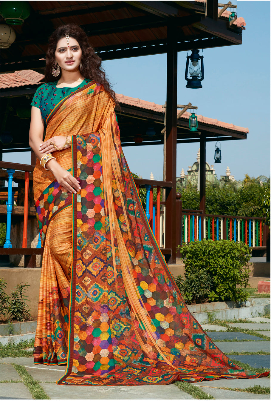 Sanskar's Jogan Printed Silk Saree (Orange) By Indians Boutique