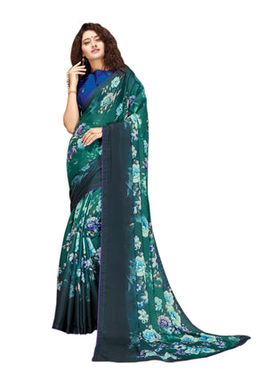 Sanskar's Jogan Printed Silk Saree (Sea Green) By Indians Boutique