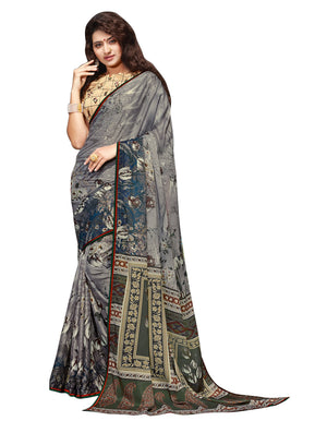 Sanskar's Jogan Printed Silk Saree (Grey) By Indians Boutique