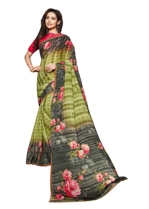 Sanskar's Jogan Printed Silk Saree (Green) By Indians Boutique