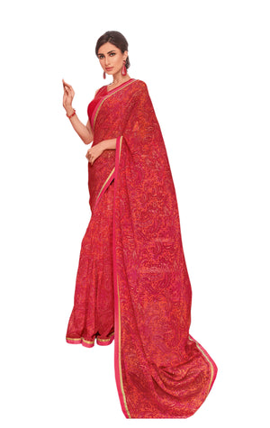 Sanskar Suhane Pal Vol 18 Printed Georgette Saree With Blouse Piece (Red) By Indians Boutique