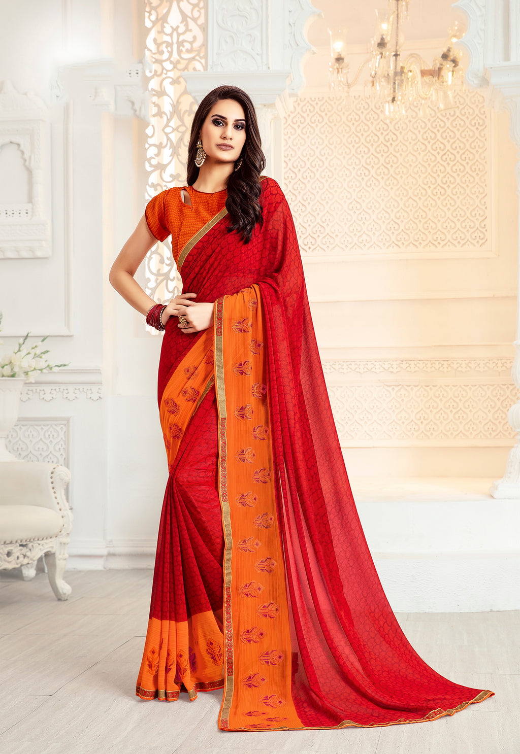 Sanskar Blossom  Printed Georgette  Saree With Blouse Piece  (Red) By Indians Boutique