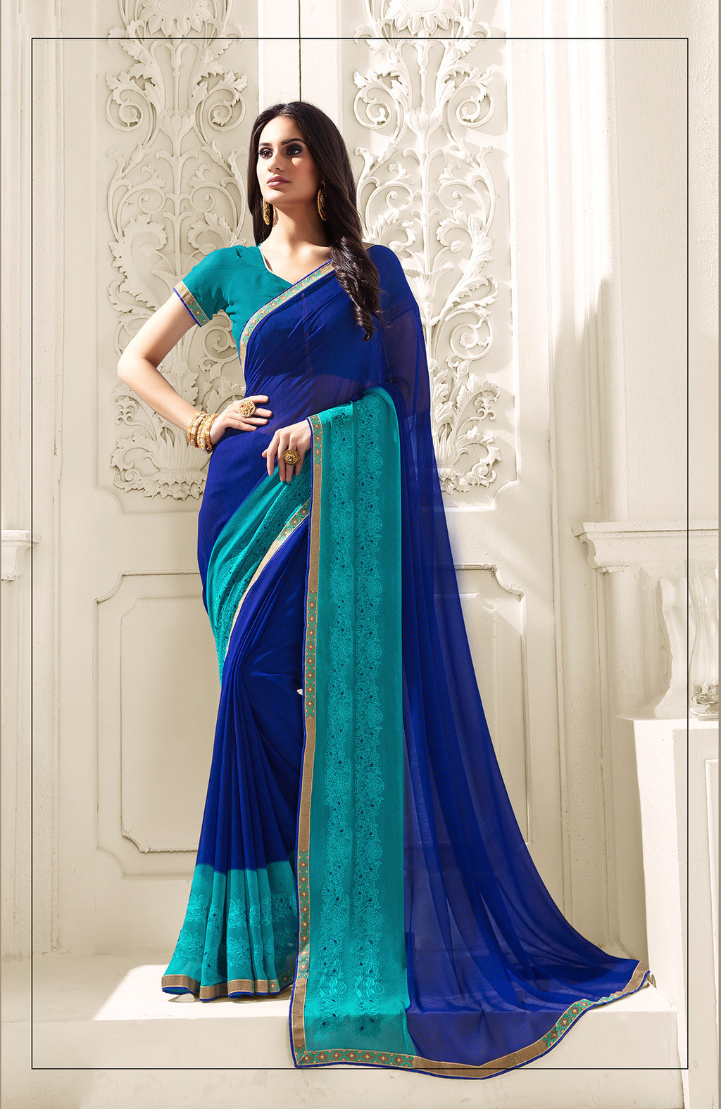 Sanskar Blossom  Printed Georgette  Saree With Blouse Piece  (Blue) By Indians Boutique