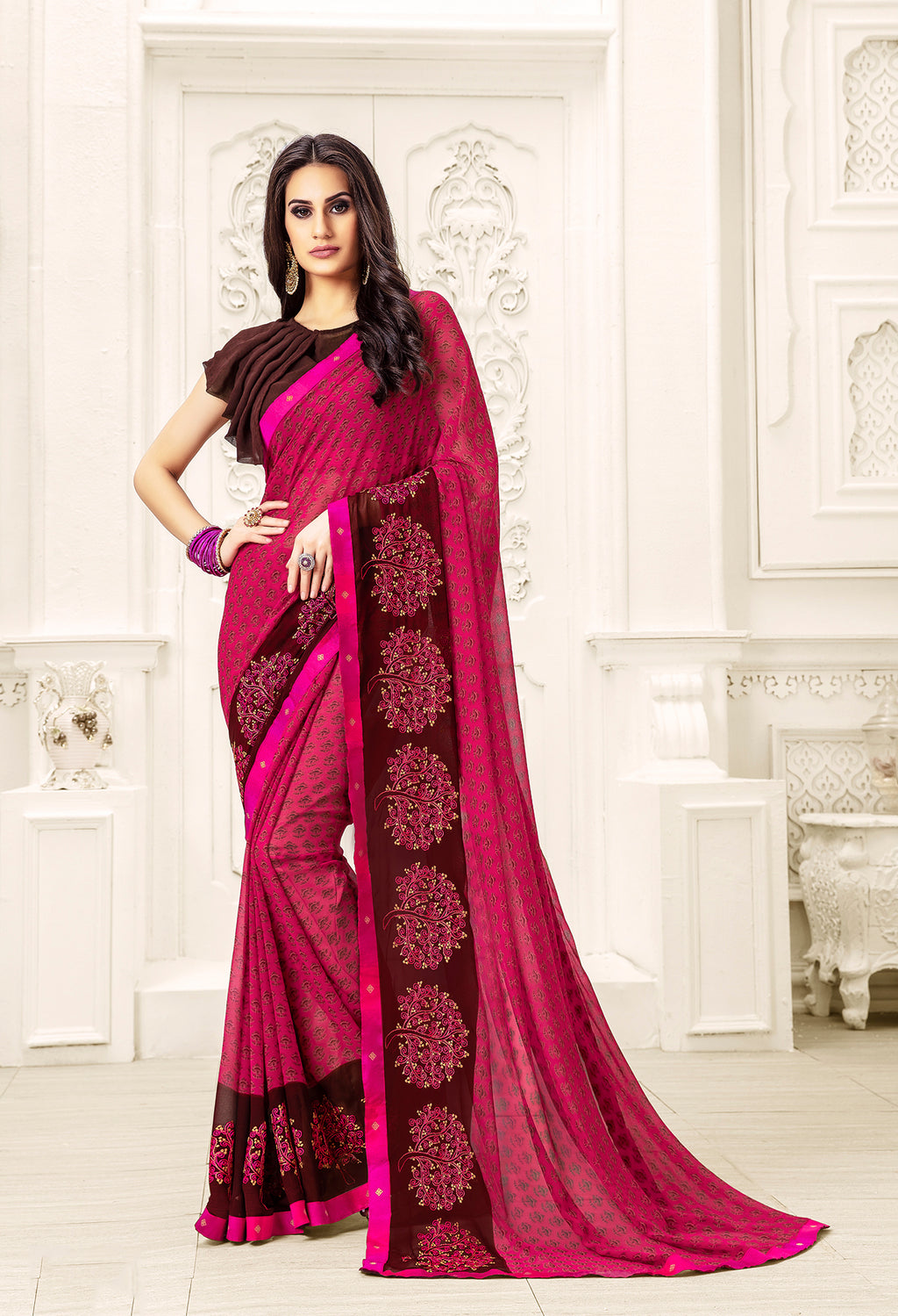 Sanskar Blossom  Printed Georgette  Saree With Blouse Piece  (Maganta) By Indians Boutique