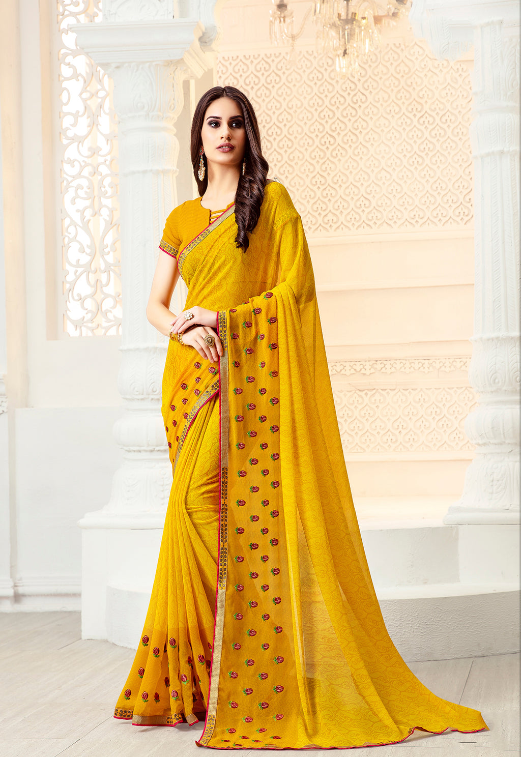 Sanskar Blossom  Printed Georgette  Saree With Blouse Piece  (Yellow) By Indians Boutique