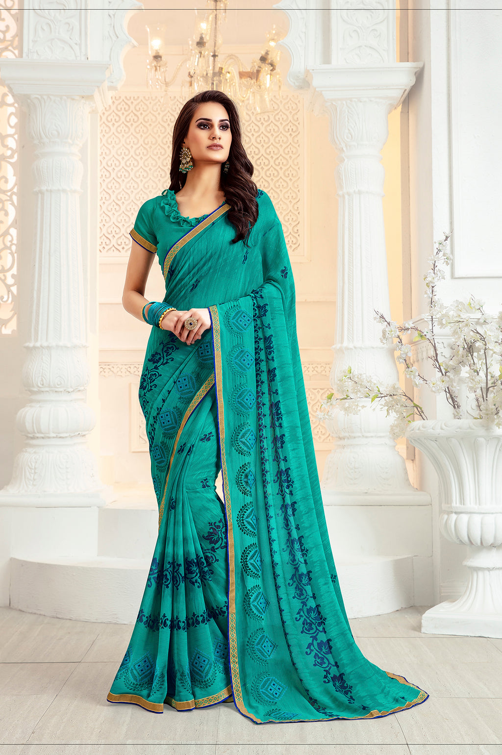 Sanskar Blossom  Printed Georgette  Saree With Blouse Piece  (Sky Blue) By Indians Boutique