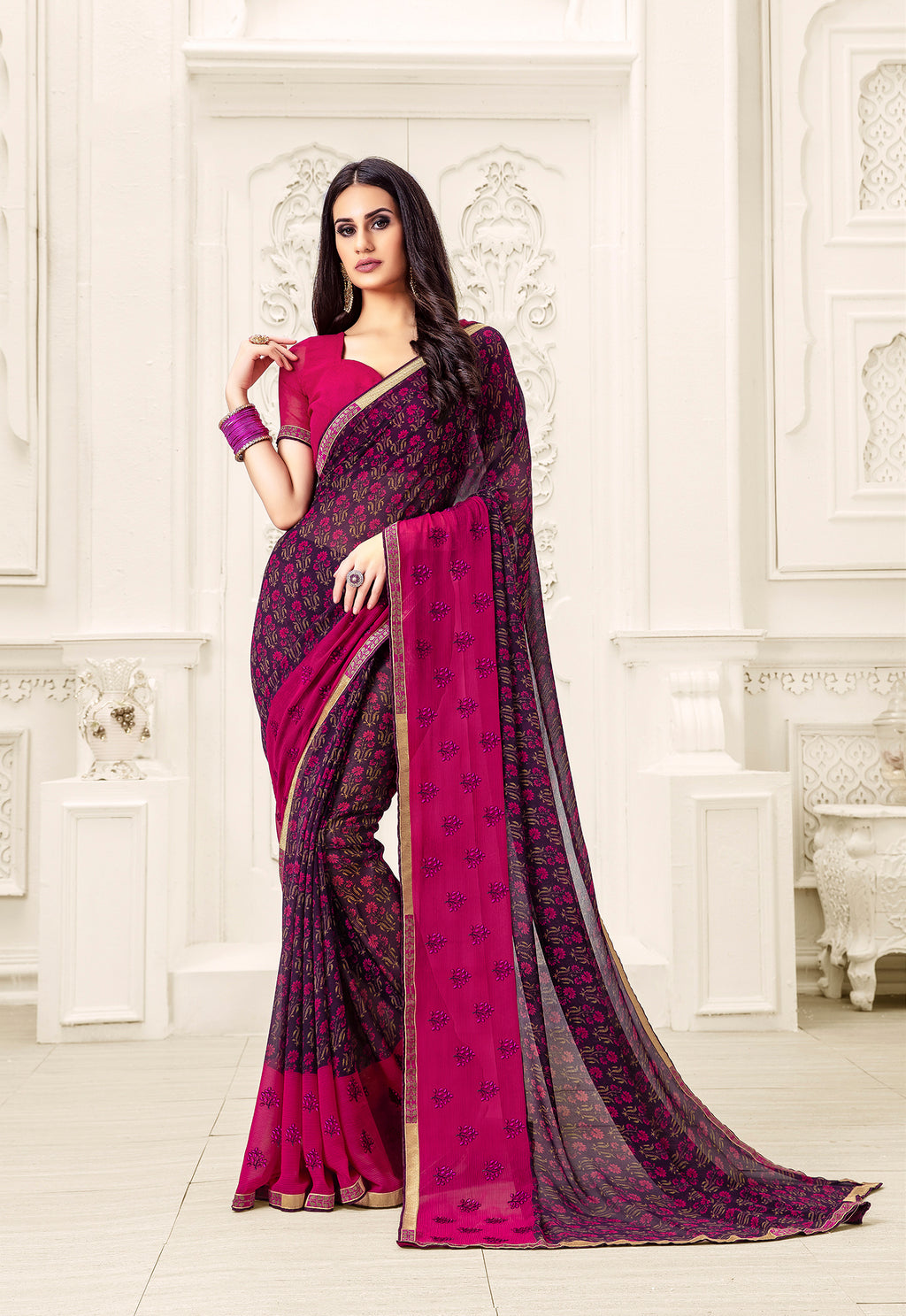 Sanskar Blossom  Printed Georgette  Saree With Blouse Piece  (Maroon) By Indians Boutique