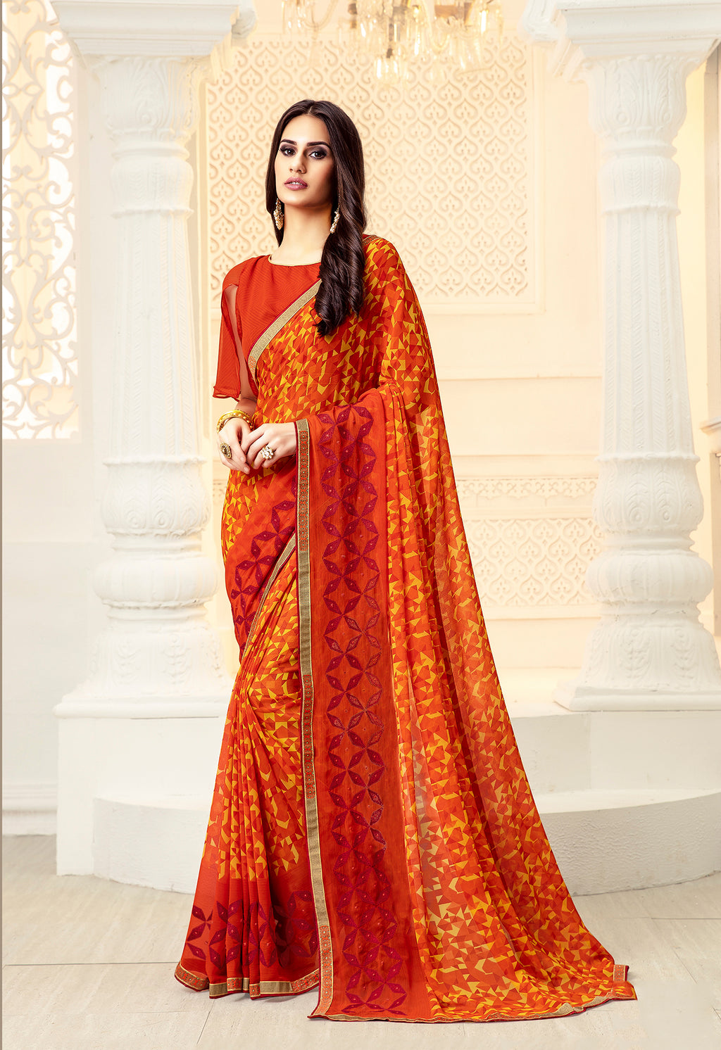 Sanskar Blossom  Printed Georgette  Saree With Blouse Piece  (Orange) By Indians Boutique