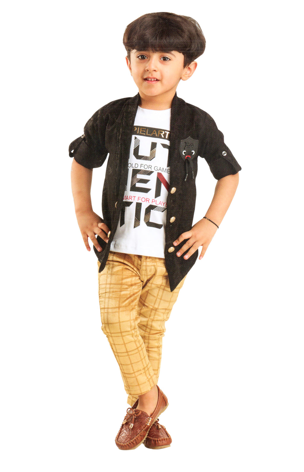Tickle Bugs Boys Party Wear Cloting Set (Black,Beige) By Indians Boutique
