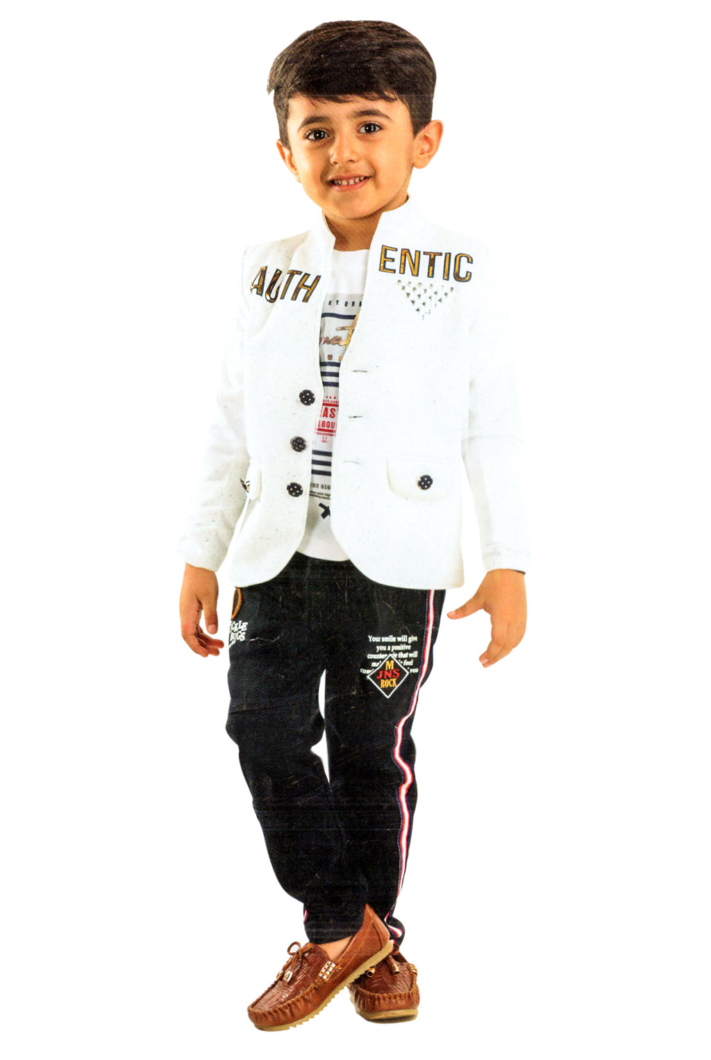 Tickle Bugs Boys Party Wear Cloting Set (White,Black) By Indians Boutique