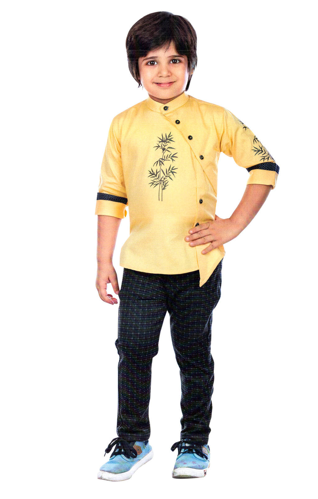 Jee Saab Boys Party Wear Cloting Set (Yellow,Black) By Indians Boutique