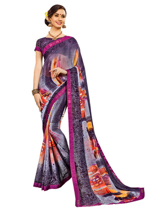 Yug Bansal Kimaya Printed Synthetic Saree With Blouse Piece Saree (Violet) By Indians Boutique