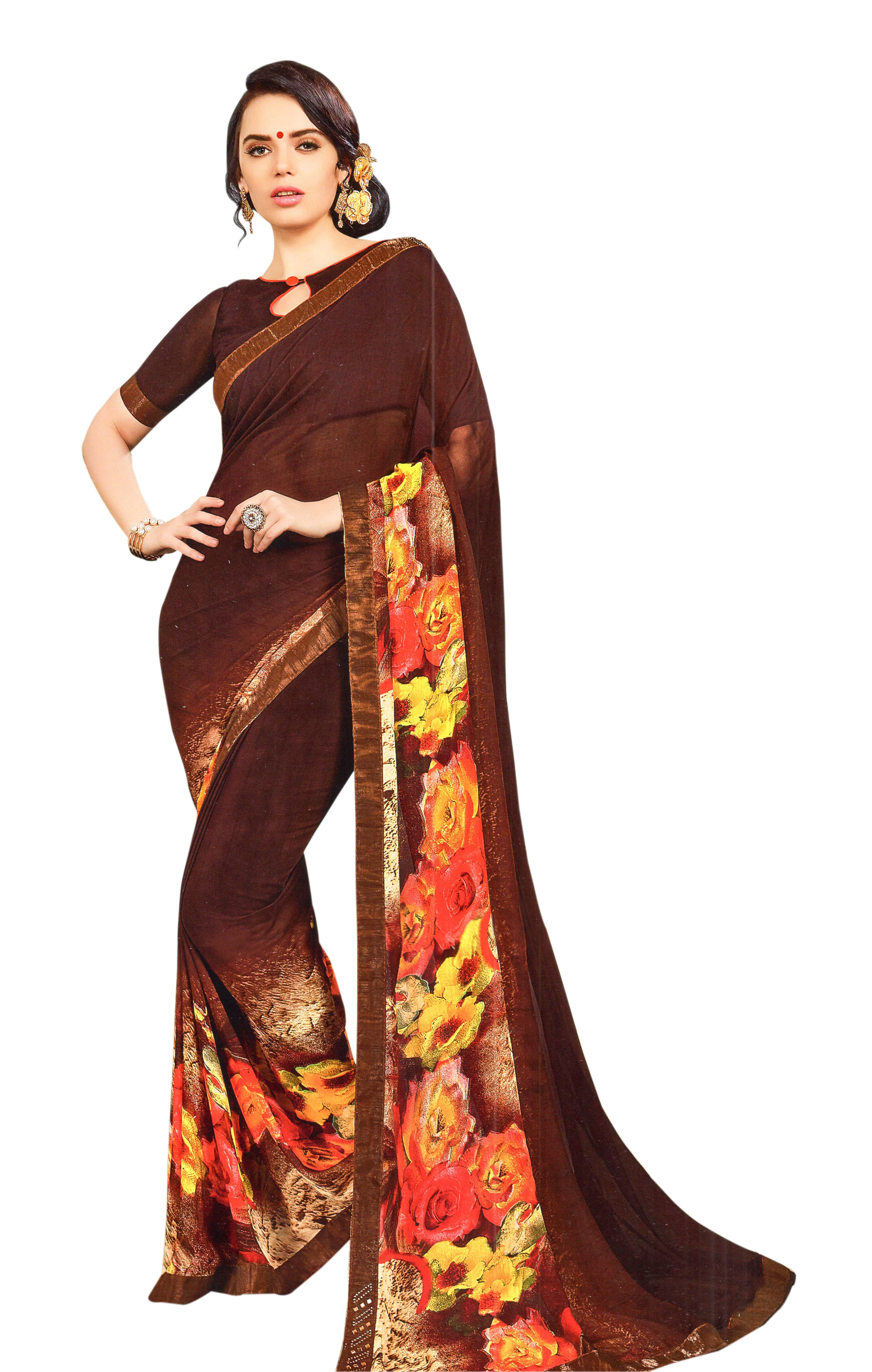 Yug Bansal Kimaya Printed Synthetic Saree With Blouse Piece Saree (Brown) By Indians Boutique