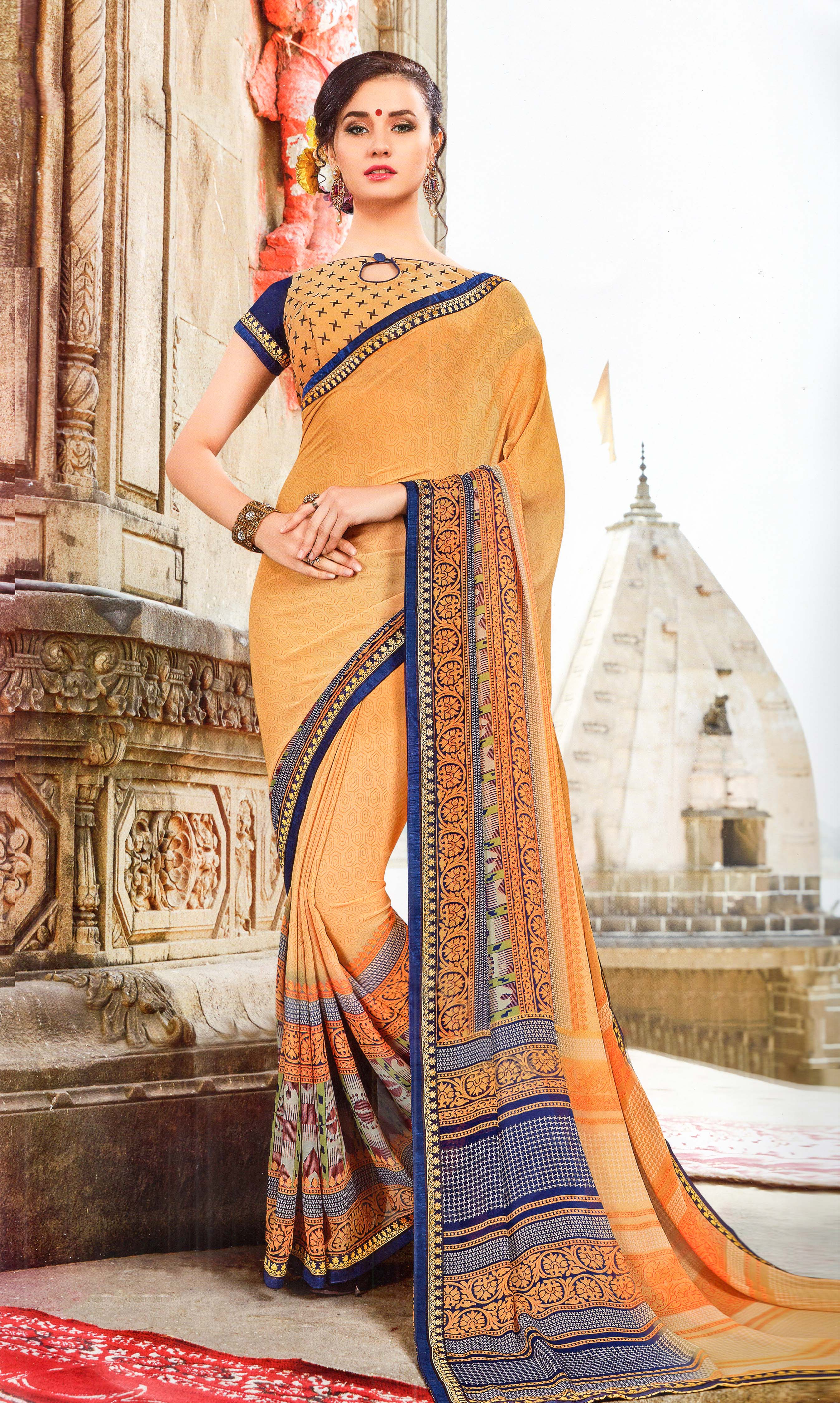 Yug Bansal Kimaya Printed Synthetic Saree With Blouse Piece Saree (Creame) By Indians Boutique
