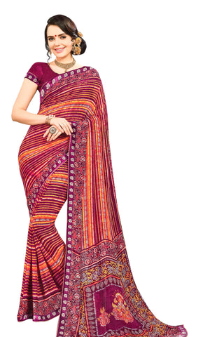 Yug Bansal Kimaya Printed Synthetic Saree With Blouse Piece Saree (Purple) By Indians Boutique