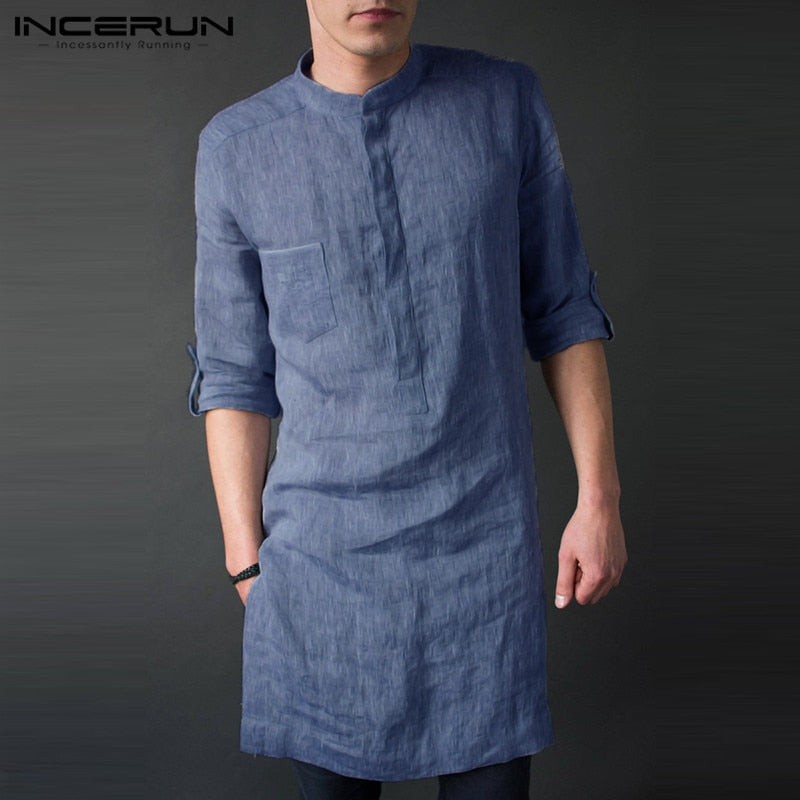 Men Long Sleeve Stand Collar Solid Kurta