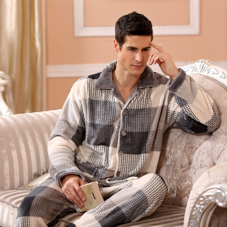 Winter Pajamas For Men Thick Flannel Sleepwear
