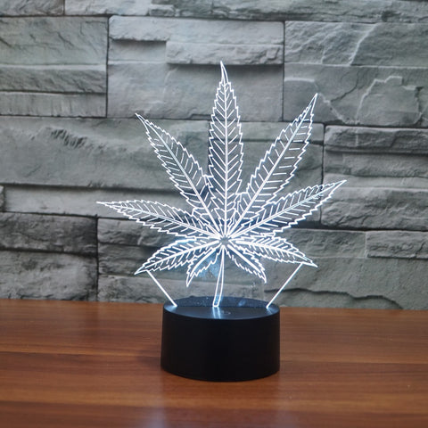 Marijuana Leaf 3D Illusion Lamp