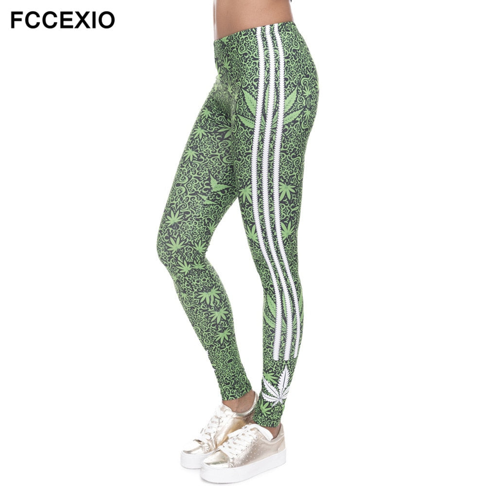 3D Leggings Weeds White Stripes