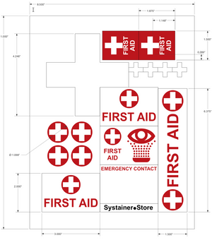 mini-Systainer T-Loc part, Red with first aid labels