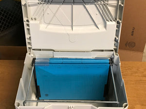 Systainer T-Loc IV, with hanging folder insert and folders, Light grey with blue latch, Like New