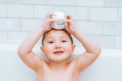 Jenni Farley's son Greyson using Naturally Woww Waterless Miracle Baby Balm