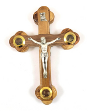 Olive Wood Crucifix with Relics