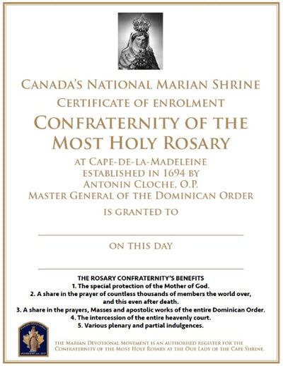 Confraternity of the Most Holy Rosary, Rosary Confraternity Certificate
