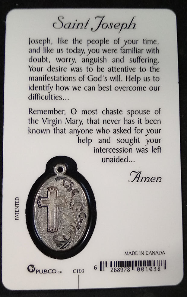 St. Joseph Prayer Card with Medal