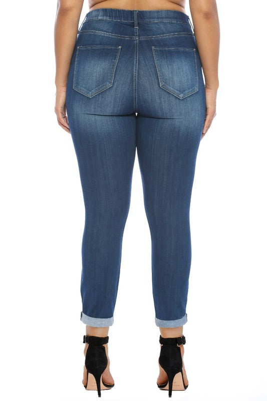Cello Mid Rise Pull On Skinny Jeans