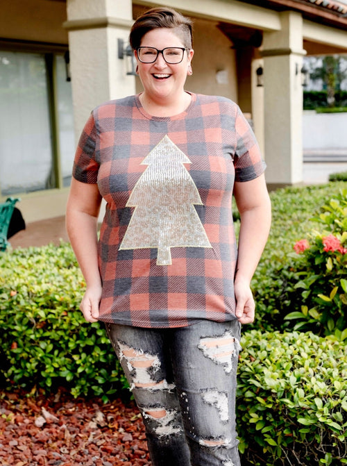 Rockin' Around Glam Plaid Tee