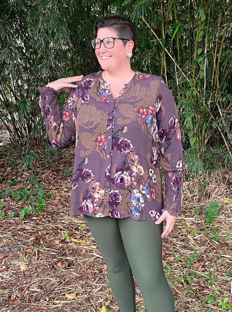 Perfectly Purple Fall Floral Button Down Top