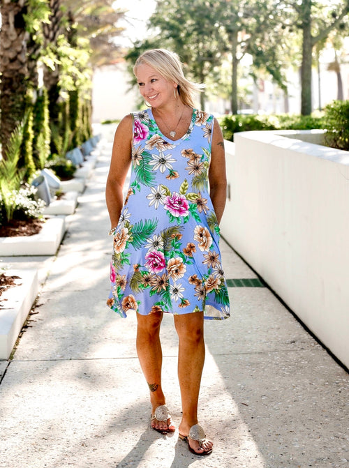 Breezy Blue Floral Tank Dress