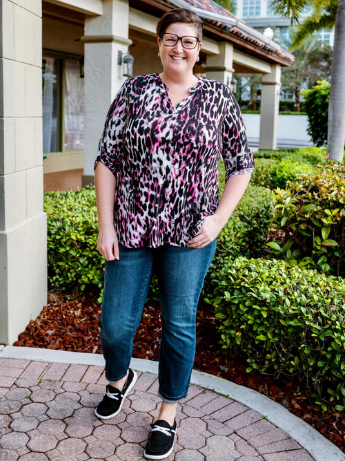 Magenta Leopard Gabby Blouse